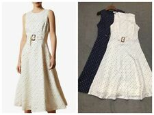 AUTH Ted Baker CARYLA Spotted A-line Midi Dress Ivory/Navy, 0-5