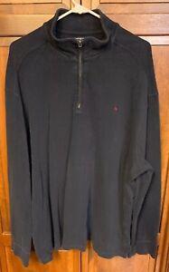 Polo Ralph Lauren Men XXL 2XL 1/4 Zip Pullover Sweater SweatShirt Blue Cotton