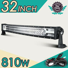 "32"" 810W CREE Triple Row Curved LED Work Light Bar Spot Flood Offroad 4WD 28/42"""