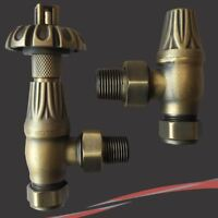 Antique Brass Traditional Angled Thermostatic Valves for Radiators (Pair)