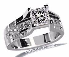 1.50CT G COLOR PRINCESS CUT DIAMOND ENGAGEMENT WEDDING RING 14K WHITE GOLD PD22G