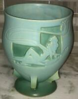 """Roseville Pottery Art Deco SILHOUETTE Cameo Green Nude Vase 763-8"""" Excellent!"""