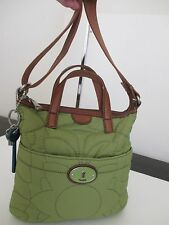 Fossil ZB5224 Key-Per Green Quilted with Brown Leather Trim Shoulder Purse