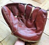 Denkert Chet Laabs Endorsed Right Handed Throw Leather Baseball Glove VTG 40's