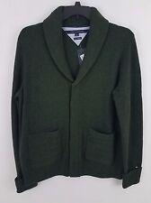 Tommy Hilfiger Men's Shawl Collar Cardigan 7885325 L Green 100% Lambs Wool