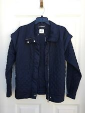 100% Auth CHANEL Oversized Quilted Light Jacket Blouson 34 Navy EUC P51311V38128