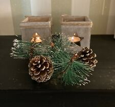 Wooden Grey wash Christmas Glass Tea-light Holder with Ribbon - 3 Designs