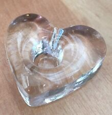 """Elegant Heart Shaped Crystal Candle Holder for Narrow (1/2"""" diam) Taper Candles"""