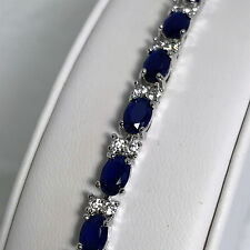 "New 925 Sterling Silver 71ct Oval Sapphire & White Topaz 8"" Tennis Bracelet"