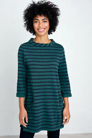 Seasalt Green Black 3/4 Sleeves Round Neck Stripe Sweatshirt Jumper Tunic Top