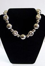 GIVENCHY Vtg RARE Choker Necklace Chunky Silver Metal Beads Hammered