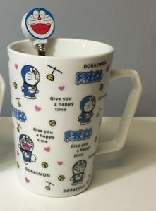 Cat Doraemon Ceramic Coffee Mug Tea Cup blue With Lid