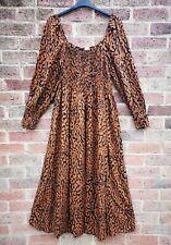 H&M Rust Brown Animal Print Midi Maxi Puff Sleeve Summer Dress size XL 18 20