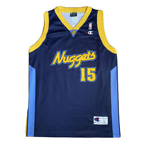 Champion Vintage NBA Denver Nuggets Blue Jersey #15 Carmelo ANTHONY Shirt Large