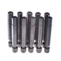 """10pcs 6mm Hex/ Allen Insert Bit 1/4"""" Hex Dr Long Reach S2 Steel Shank 50mm Long"""