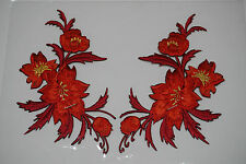 Red /orange flowers pair floral boutique Embroidered Sew Iron on Patch FREEShipp