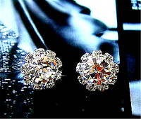 Pretty silver crystal snowflake stud earrings Christmas gift gear