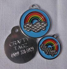 Rainbow Rhinestone BLING Pet/Dog/Cat ID tag ENGRAVED