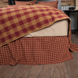 Burgundy Check Twin Gathered Bed Skirt 16 Drop Burgundy Khaki  Farmhouse Country