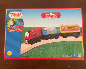 Learning Curve Wooden Thomas Train Ivo Hugh with Zoo Cars! NEW