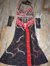 Costume danza del ventre bellydance nero/rosso