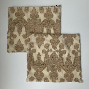 """Pottery Barn Wool Cotton Paisley Throw Pillow Covers  16""""X17"""" Cream Tan Brown"""