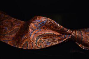 Robert Talbott Jacquard Satin Sunset Orange Blue Tipped Woven Paisley Silk Tie