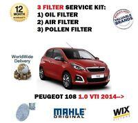 FOR PEUGEOT 108 1.0 VTI 69BHP 2014-> NEW OIL AIR POLLEN 3 FILTER SERVICE KIT