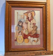 Nice Wooden Framed Print of Antiques Dolls & Toys by Artist Pat Young 13 x 17