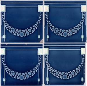 Germany Art Nouveau Majolica Jugendstil Set 4 original period antique blue tiles