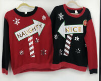 New Holiday Time Double Ugly Christmas Sweater L/XL Naught And Nice Sequin Fuzzy