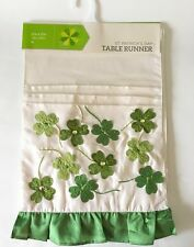 """Table Runner Shamrock Clover Embroidered Applique 13x72"""" NEW"""