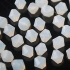 50pcs 6mm Bicone Faceted Crystal Glass Charms Loose Spacer Beads Oyster White