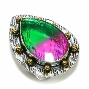 Bi-Color Tourmaline Gemstone Two Tone 925 Sterling Silver Jewelry Ring Size 10