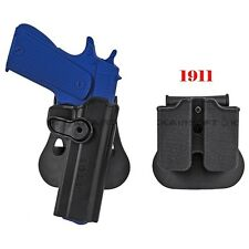 CQC Style For Colt 1911 RH Pistol & Magazine Paddle Tactical Holster Black