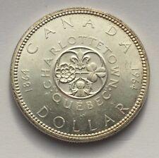 1964 CANADA CHARLOTTETOWN QUEBEC COMMEMORATIVE SILVER ONE DOLLAR COIN