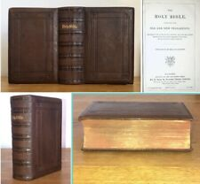 1872 Antique Holy Bible Fine Leather Old & New Testament Oxford University
