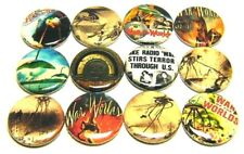 "12 WAR of the WORLDS - ONE Inch Buttons 1"" Pinback Pins Radio Orson Welles ALIEN"