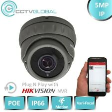 5mp IP Network CCTV Grey Dome Poe Camera 2.8-12mm Varifocal Lens up to 30m IR