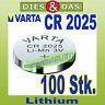 100 pz. Varta CR 2025 Batterie a bottone ALCALINE BULK Batteria sciolto