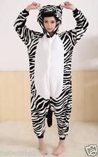 Zebra Unisex Adult Pajamas Kigurumi Cosplay Costume Animal Onesie Sleepwear M