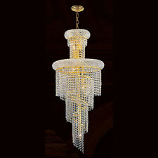 """US BRAND 10 Light Empire Gold Finish Clear Crystal Chandelier 16""""  x 36"""" High"""