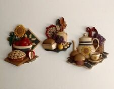 3 Piece Vtg Home Interiors Kitchen Wall Plaques Pie - Bread - Teapot 1997