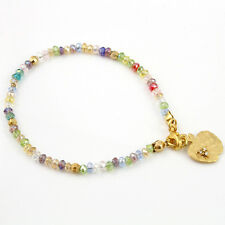 Multi Colour Bead Gold Plated Friendship Beaded Thin Stack Bracelet Charm Apple