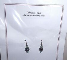 NEW silver drop earrings blue and silver pearlised beads Ideal Gift