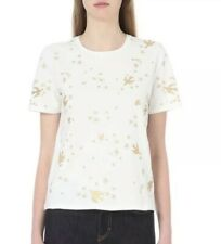 MAJE Terrence Gold Embroidered Crop Scoop Neck Short Sleeve T Shirt Blouse Sz 1