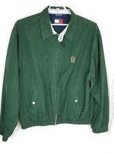 Vintage Tommy Hilfiger 90s Green Harrington Full Zip Jacket Crest Logo Size L