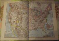 Antique Arizona Arkansas Texas USA New York School Map Vintage 1957 German Atlas