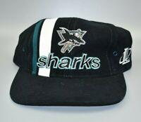 San Jose Sharks NHL Logo Athletic Vintage 90's Striped Strapback Cap Hat