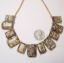 "Large Faceted Acrylic Panels, 21.5"" Striking Bib Necklace, Gold Foil in"